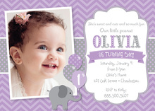 Lavender Chevrons Elephant Photo Card