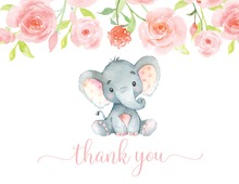 Pink Elephant Baby Shower Thank You Note