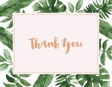 Watercolor Tropics Rose Gold Thank You Cards