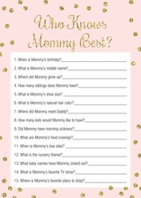 Gold Glitter Dots Pink Who Knows Mommy Best Game