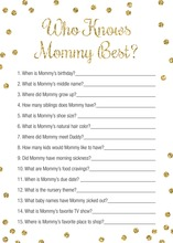 Gold Glitter Dots Who Knows Mommy Best Game