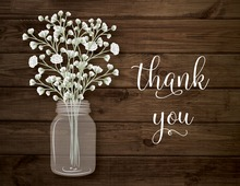 Mason Jar Babys Breath Wood Plank Thank You Note