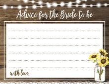 Sunflower Wood Party Lights Bridal Advice Cards
