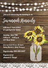 Sunflower Wood Party Lights Bridal Shower Invitations
