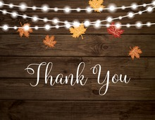 Fall Leaves Party Lights Thank You Cards
