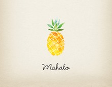 Watercolor Pineapple Mahalo Thank You Note Card