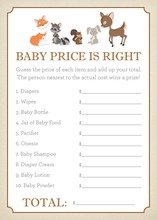 Woodland Animals Baby Shower Price Game
