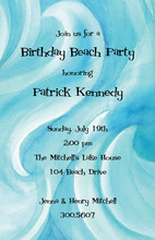 Wavy Blue Watercolor Surf Up Invitation