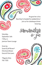 White Contrast Posh Red Paisley Invitations