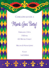 Diamond Border Mardi Gras Eyes Invitation