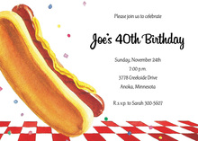 Delicious Picnic Hot Dog Invitations