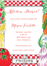 Classy Kitchen Pasta Recipe Shower Invitations