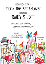 Fun Watercolor Cocktails Shower Invitations