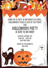 Candy Filled Halloween Invitations