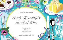 Turquoise Party Tabletop Invitations