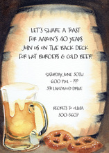 Wooden Barrel Behind Beer Invitations