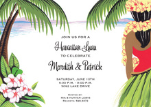 Hula Dancer Ocean Hawaii Invitations