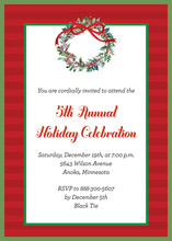 Red Stripes Green Border Wreath Invitations