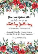 Poinsettia Floral Wreath Invitations