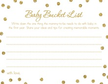 Faux Gold Glitter Dots Baby Bucket List Cards