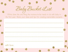 Faux Gold Glitter Pink Dots Baby Bucket List Cards