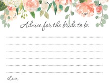 Watercolor Peach Cream Floral Bridal Advice Cards