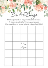 Watercolor Peach Cream Floral Bridal Bingo
