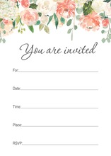 Watercolor Peach Cream Floral Fill-in Invitations