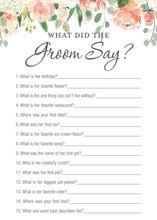 Watercolor Peach Cream Floral What Did The Groom Say Game