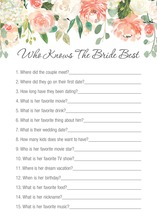 Watercolor Peach Cream Floral Who Knows Bride Best Game
