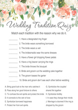 Watercolor Peach Cream Floral Wedding Tradition Quiz