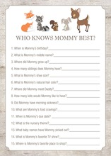 Woodland Animals Who Knows Mommy Best Game