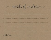 Kraft Black Script Advice Cards