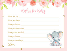 Pink Watercolor Elephant Floral Hearts Baby Wish Cards