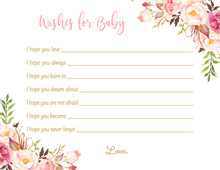 Blush Roses Baby Wish Cards