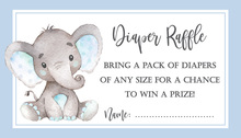 Blue Border Elephant Raffle Cards