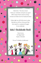 Girls Night Out Multi Color Polka Dots Invitation
