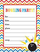 Bowling Party Chevron Fill in Invitations