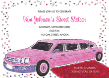Pink Limo Red Carpet Confetti Invitations