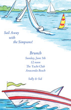 Sailboats By Lakeside Invitation