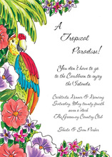 Parrot In Tropical Paradise Invitations