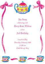 Girl Tea Pot Collection Party Invitation