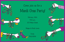 Mardi Gras Hands Invitation