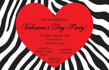 Heart In Wild Zebra Invitation