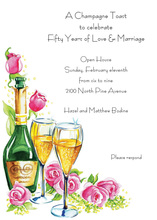 Champagne Toast Pink Roses Invitation