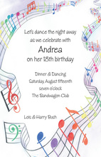 Dancing Music Notes Invitation