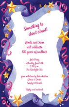 Ribbons Confetti Stars Border Invitation