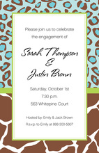 Contemporary Blue Brown Wild Border Invitation