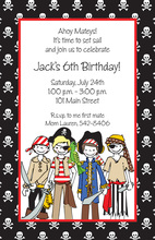 Four Little Pirates Birthday Invitations