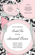 Floral Tea Black Pink Invitation